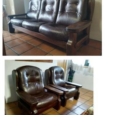 Sofa de piel y madera 3p 2 individuales