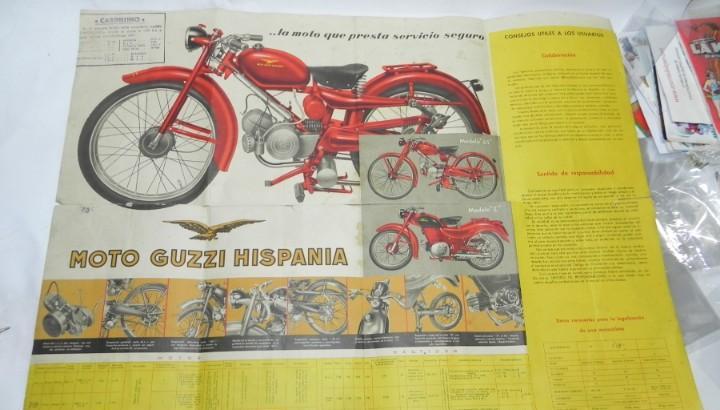 Antiguo cartel de publicidad de moto guzzi hispania,