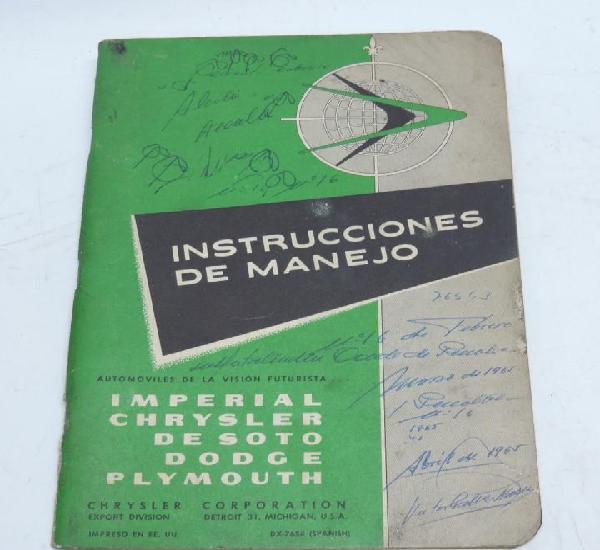 Instrucciones de manejo, chrysler corporation, imperial, de