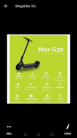 Patinete electrico plegable max g 30