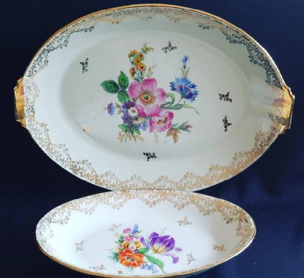 Conjunto de fuente / bandeja + rabanera porcelana de