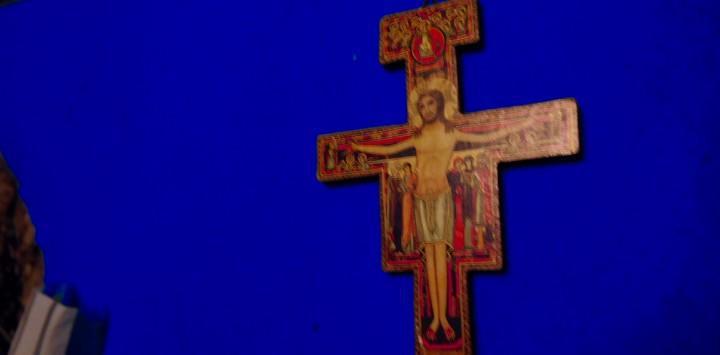 Cruz de san damiano. pintada en siria en silo xii, rodeado