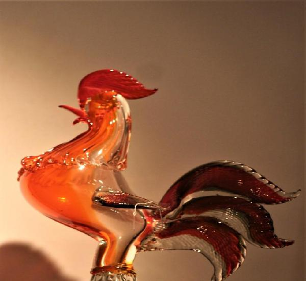 Gallo en cristal de murano medidas 34 x 25 x 10 cm