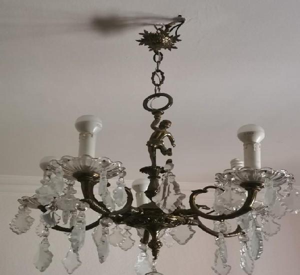 Lampara techo cristal y bronce