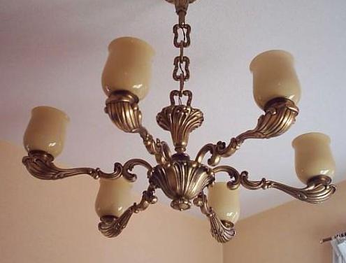 Lámpara bronce tulipas cristal 1940