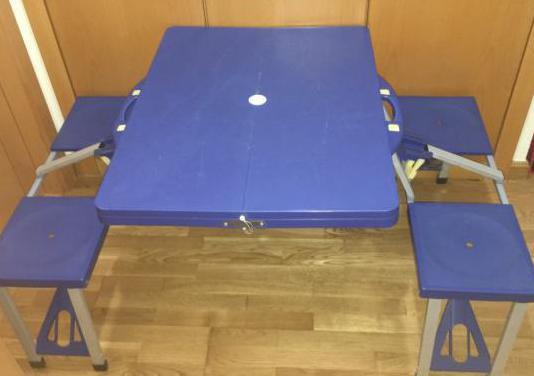 Mesa plegable con 4 sillas portátil multifu