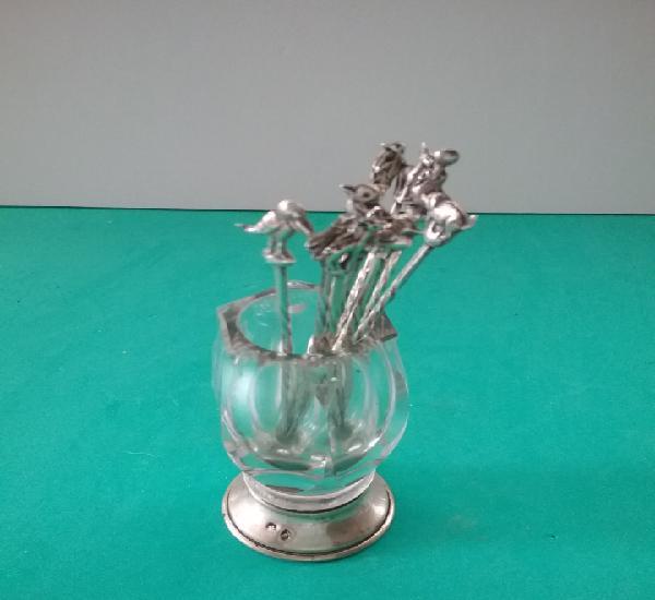 Palillero en cristal y plata. 12 palillos animales. marcas