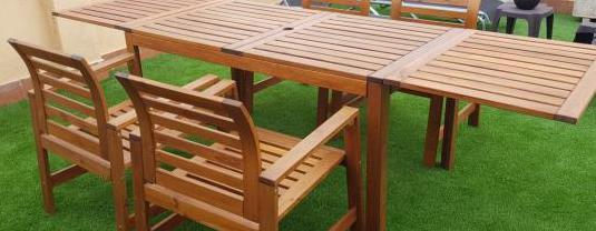 Sillas (4) y mesa terraza jardín
