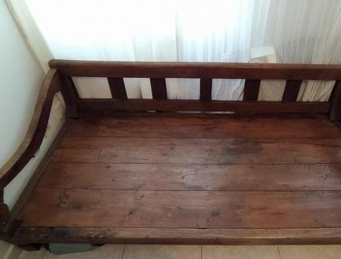 Somier/cama madera maciza, banco colonial