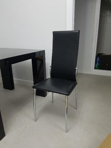 Conjunto 2 sillas comedor polipiel negras