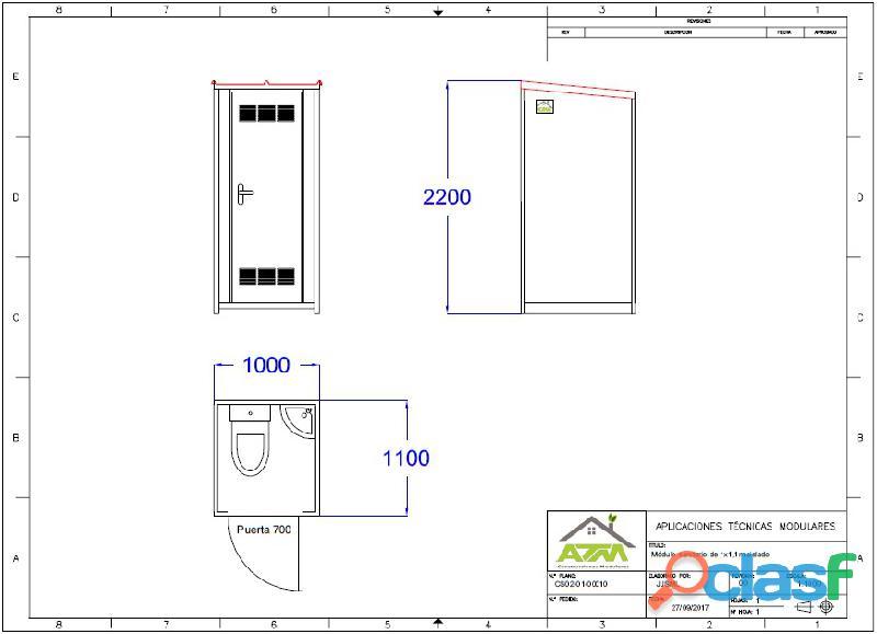 Módulo sanitario 1 x 1,1 m con lavabo , inodoro 4
