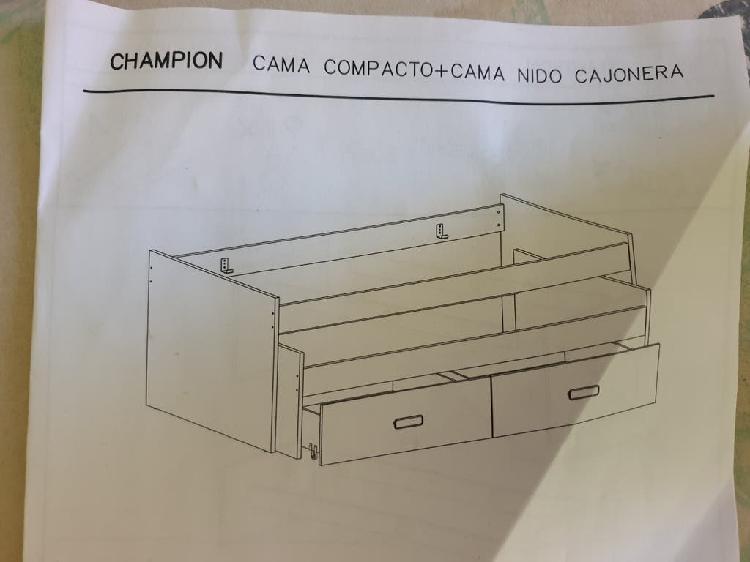Cama compacto+cama nido cajonera +somnier