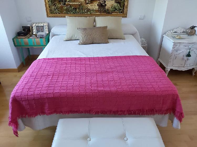 Colcha plaid rosa fucsia