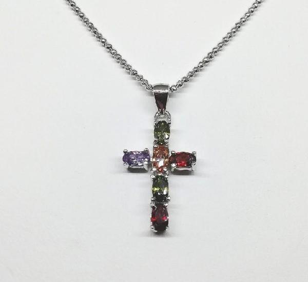 Colgante plata cruz circonitas de colores.