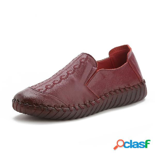Mujer respirable soft sole piel genuina mocasines