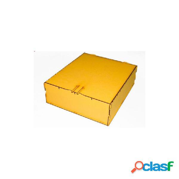 Caja de almacenaje de cartas madera grande - amarillo