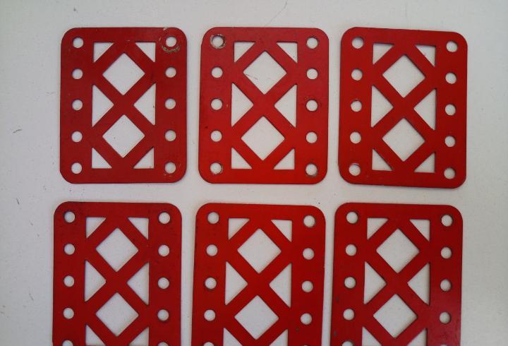 6 viguetas caladas de 5 agujeros meccano pieza 98 lote b