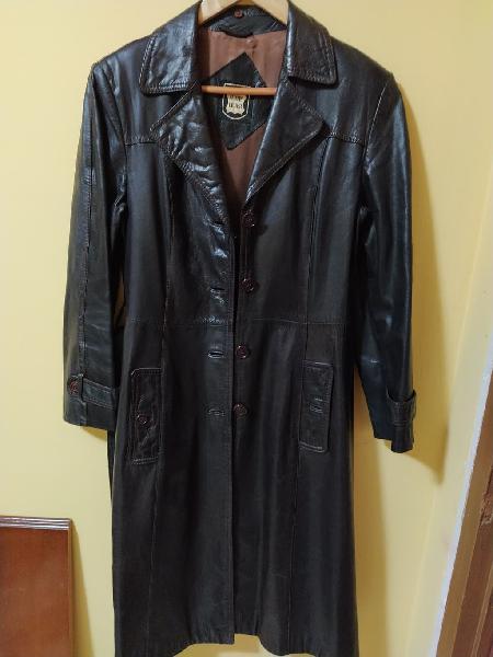 Abrigo largo de cuero auténtico