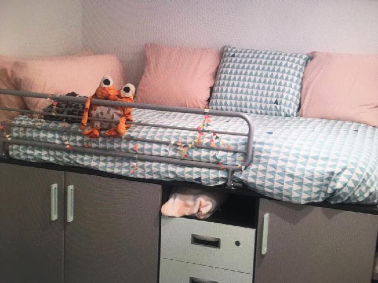 Cama compacta con escritorio + escalera cajones +