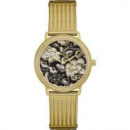 Reloj mujer acero inoxidable amarillo esfera floral w0822l2
