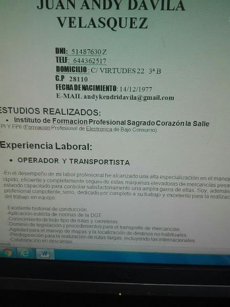 Busco trabajo tengo mucha experiencia