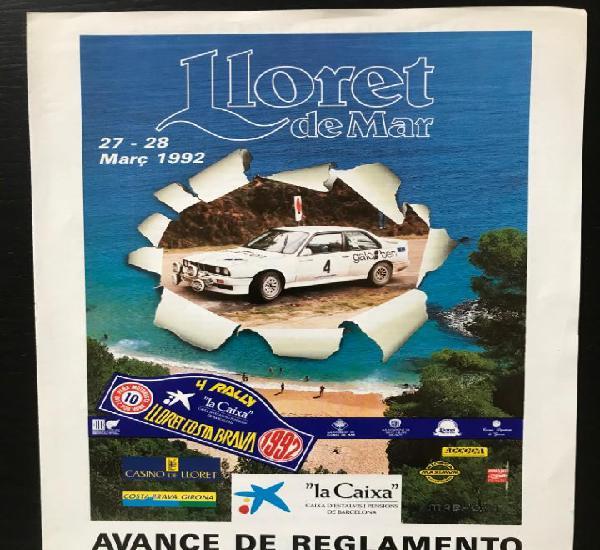 Avance reglamento original 4 rallye lloret costa brava 1992