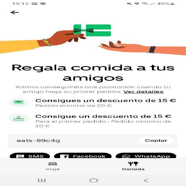 Descuento 15 euros en uber eats