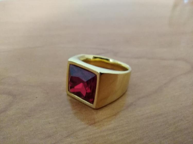 Anillo sello rojo talla 19 acero inoxidable