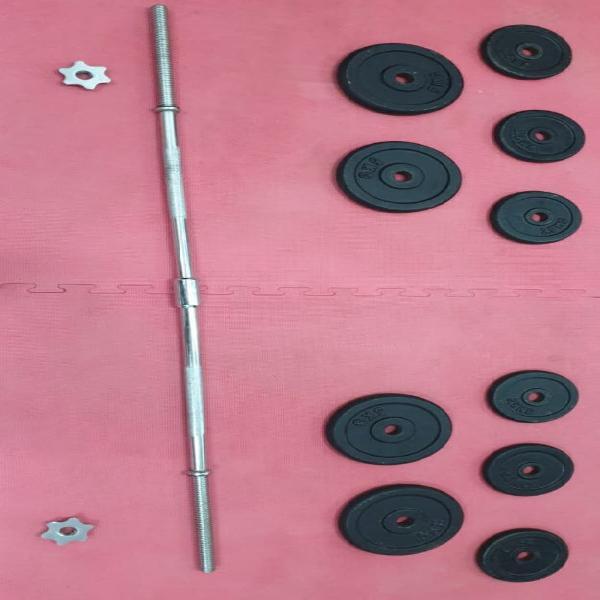 Kit barra de gimnasio, pesas y maletín