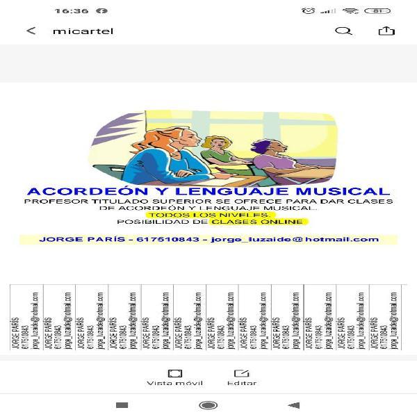 Profesor de acordeón y lenguaje musical