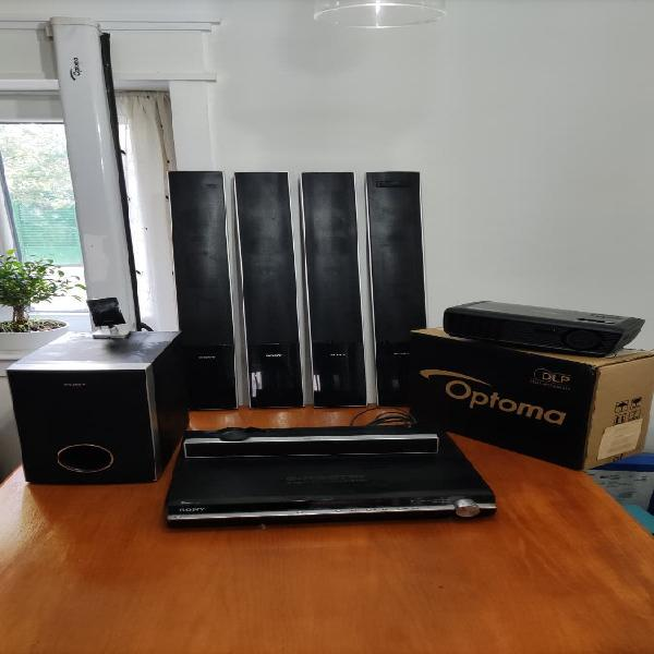 Home cinema sony + proyector óptoma + pantalla ópt
