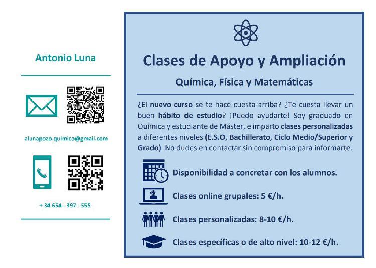 Clases particulares. química, física y matemáticas