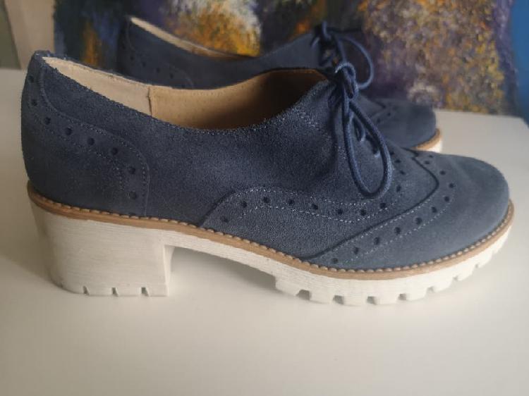 Zapatos azul de ante piel plataforma