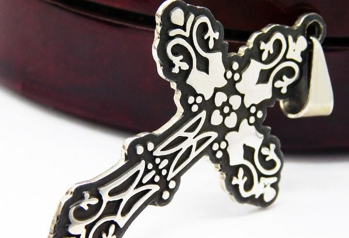 Mexico - inusual cruz colgante antigua en plata ley grande