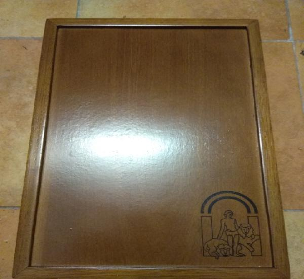 Caja botellero madera tipo caoba, interior forrado con