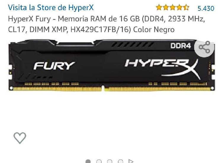 Ddr4 16gb hyperx fury memoria ram