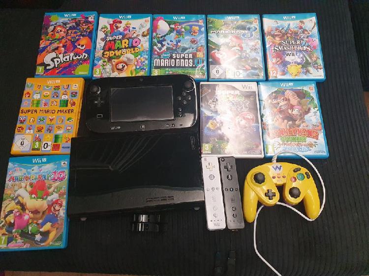 Wii u 32gb 9 juegos 3 mandos con caja original
