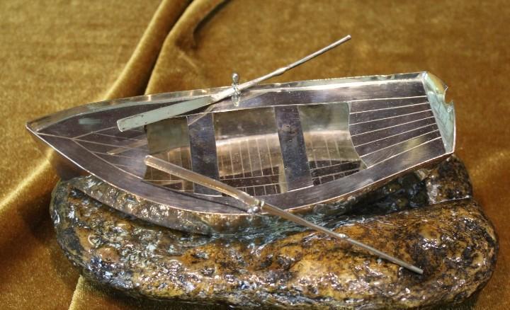 Barca de plata de ley, 16 cm de longitud, 8 cm de anchura
