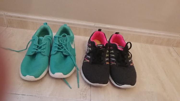 Dos pares de zapatillas nike y skaecher