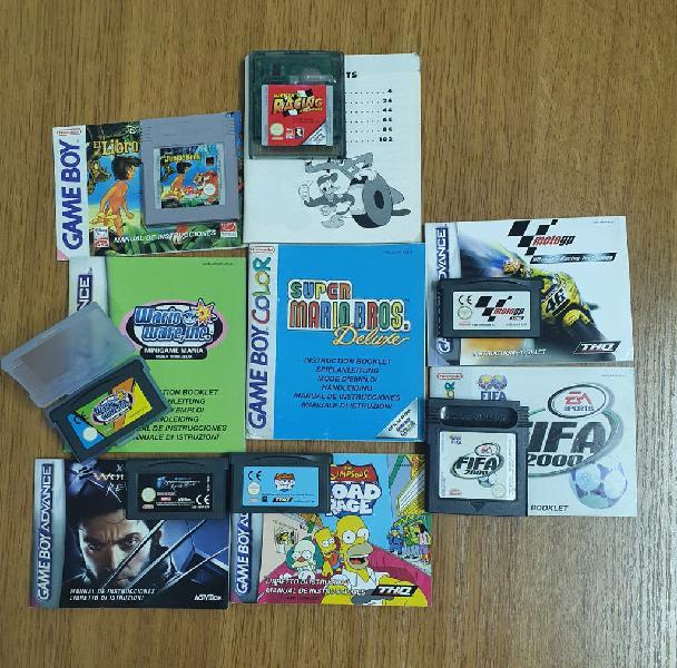 Lote juegos game boy color y advance + manuales