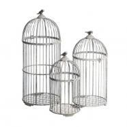 Set 3 jaula pájaro gris acero metal 26,60x26,60x64,70cm