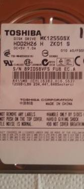 Disco duro toshiba 120 gb sata 2,5 pulgadas