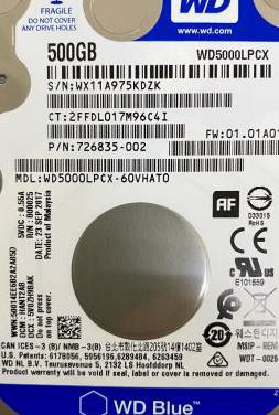 Disco Duro interno 2,5 500Gb Western Digital Blue