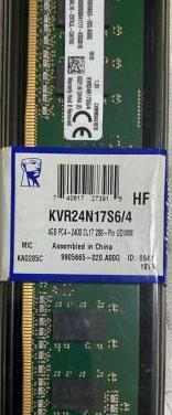 Ram kvr24n17s6/4 4gb ddr4 2400mhz