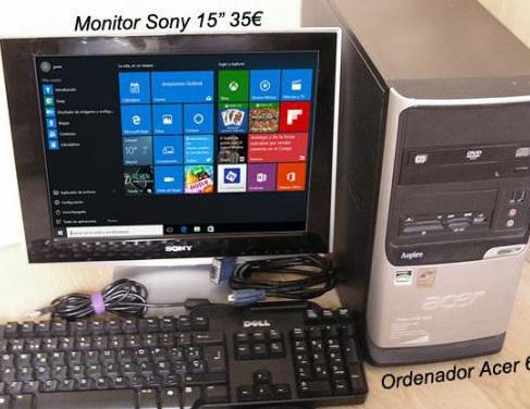 Torre ordenador acer con monitor sony 15 pulgadas