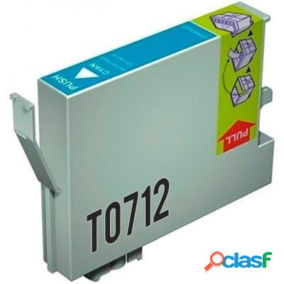 Cartucho de tinta compatible epson t0712, color cyan, 13 ml