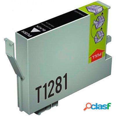Cartucho de tinta compatible epson t1281, color negro, 13 ml