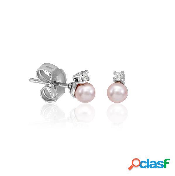 Pendientes cies de perla y circonita