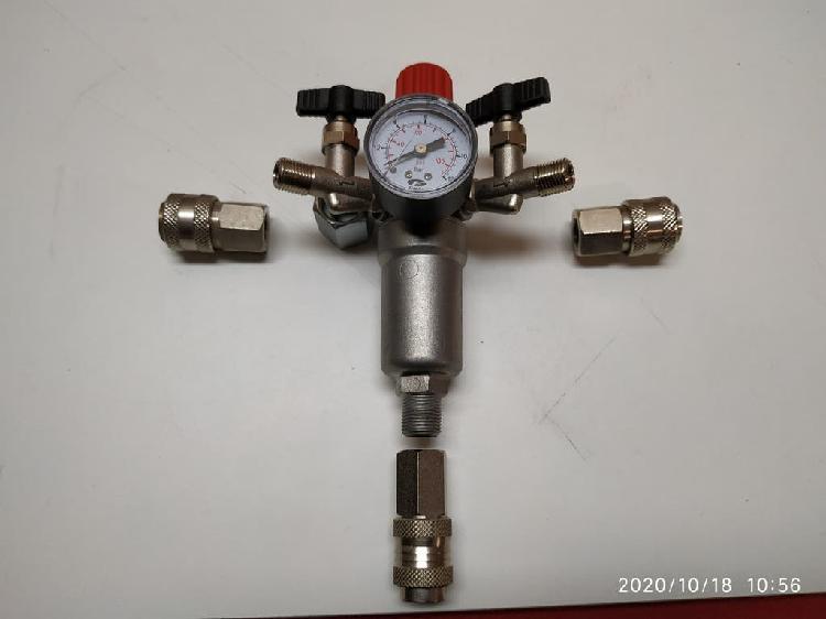 Regulador de presion con manómetro, dos llaves