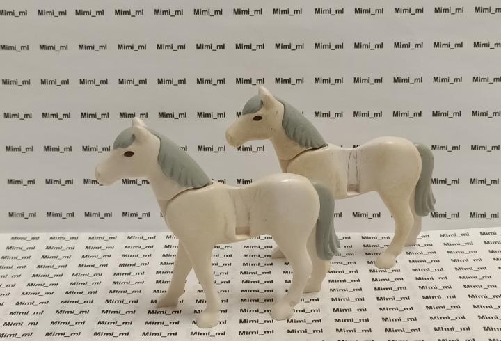 Playmobil 2 caballos blancos western oeste medieval animales